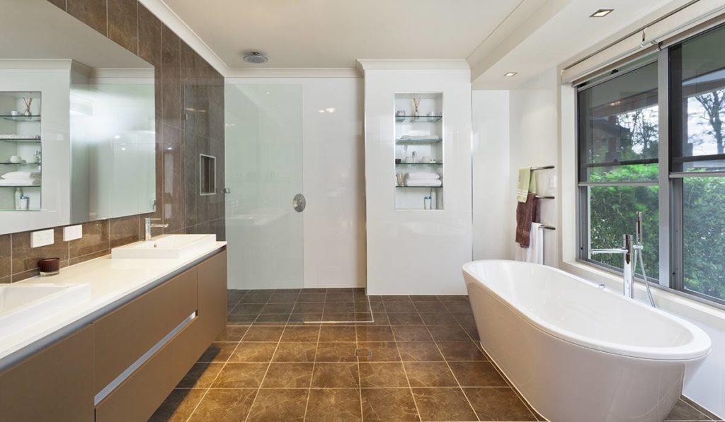 Mustervorschau eines Designbades mit Duschabtrennung