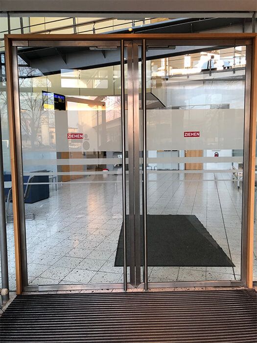 Durchlaufschutz an den Eingangstueren